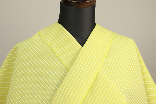 夏のKIPPE(きっぺ) 涼しま よねざわもめん 綿麻 オーダーお仕立て付き 黄 ◆男女兼用◆