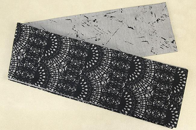 Kimono factory nono 半幅帯 綿 グリッター ラメ ゴシック 灰×黒