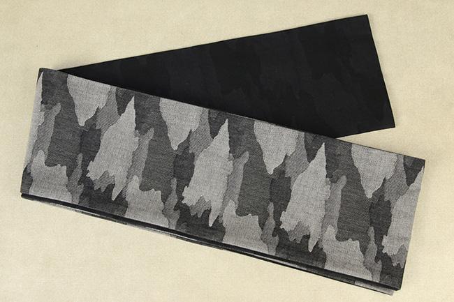 Kimono factory nono 半幅帯 綿 グリッター 迷彩グレー 迷彩黒