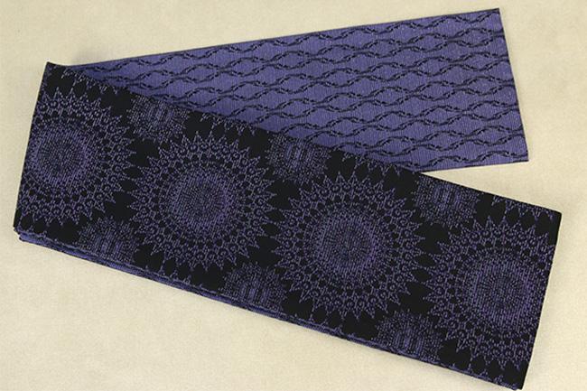 Kimono factory nono 半幅帯 綿 グリッター ラメ ゴシック 青紫