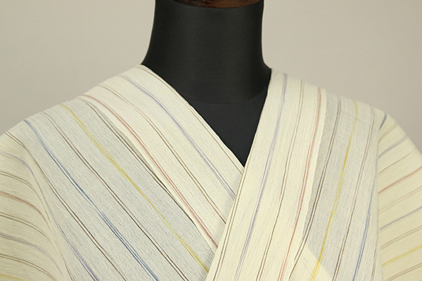 夏着物 小千谷ちぢみ 杉山織物 楊柳 オーダー仕立て付き 薄黄 カラフルストライプ ◆女性にオススメ◆