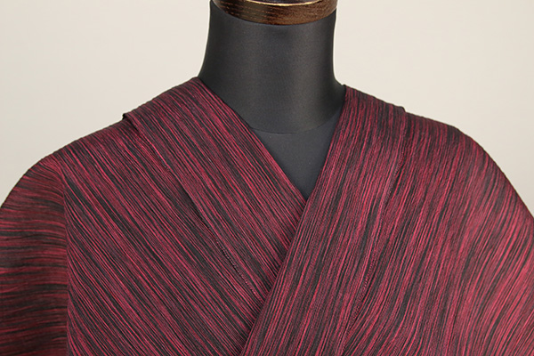 夏着物 小千谷ちぢみ 杉山織物 楊柳 オーダー仕立て付き 絣模様 黒×赤