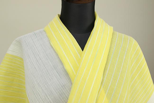 夏着物 小千谷ちぢみ 吉新織物 楊柳 オーダー仕立て付き 白×黄 ◆女性にオススメ◆