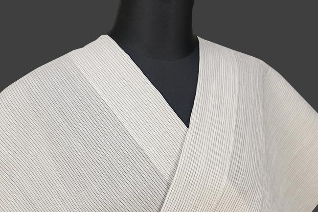 夏着物 小千谷ちぢみ 吉新織物 楊柳 オーダー仕立て付き 白×黒 ストライプ ◆女性にオススメ◆