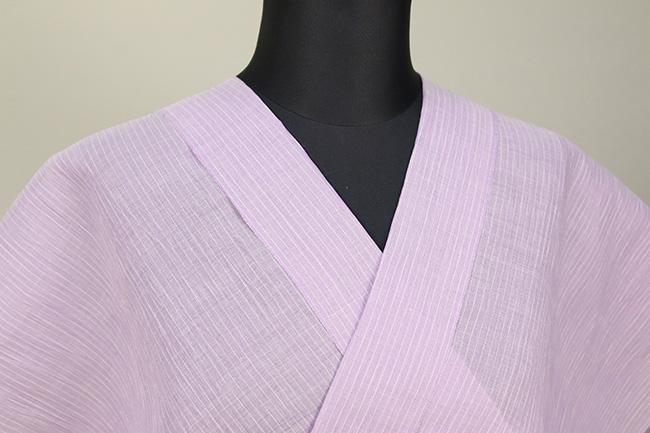 夏着物 小千谷ちぢみ 吉新織物 楊柳 オーダー仕立て付き 紫×白 ストライプ ◆女性にオススメ◆