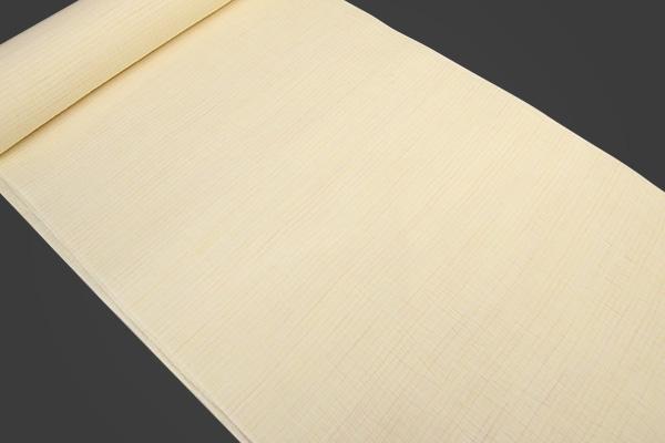 夏着物 近江の麻 楊柳 オーダー仕立て付き 縞 白×橙 ◆男女兼用◆