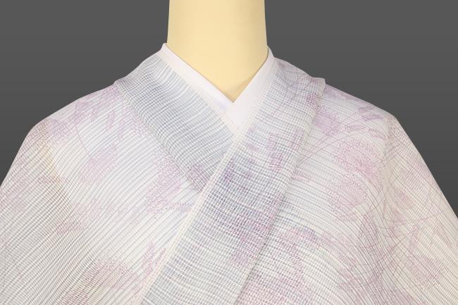 三勝 絹紅梅 夏着物 オーダー仕立て付き 花柄 白×紫 ◆女性にオススメ◆