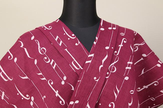 【トリエ】浴衣(ゆかた) オーダー仕立て付き 音符 綿麻 赤 ◆女性にオススメ◆