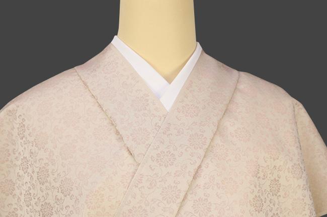 正絹 洗えるお召し単衣着物 オーダー仕立て付 ワタマサ 小花唐草 薄桃
