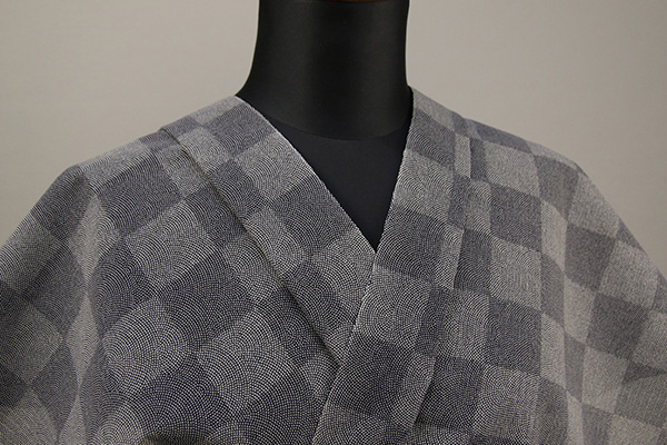 夏着物・浴衣(ゆかた) 超長綿 オーダー仕立て付き チェッカーボード 灰 ◆女性にオススメ◆