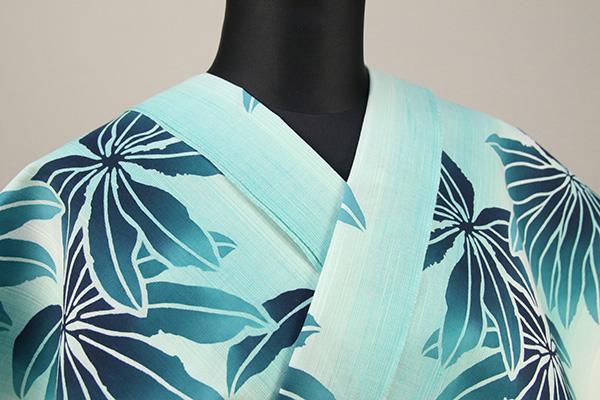 浜松注染浴衣(ゆかた) オーダー仕立て付き 注染 八手 青緑色