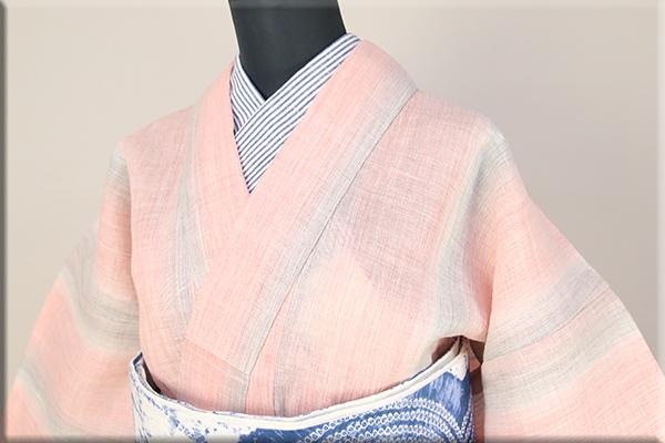 源氏物語 麻きもの 浴衣(ゆかた) オーダー仕立て付き ピンク×灰 ◆女性にオススメ◆