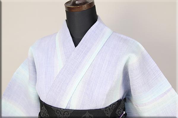 源氏物語 麻きもの 浴衣(ゆかた) オーダー仕立て付き 縞 水色×紫 ◆女性にオススメ◆