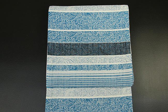西村織物 博多織 西域記 銀薫炉 紋袋帯 正絹 青緑 お仕立て付き