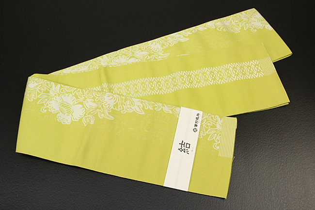 西村織物 結 博多織 正絹半幅帯 かがり仕立付 芍薬 絹100% 黄
