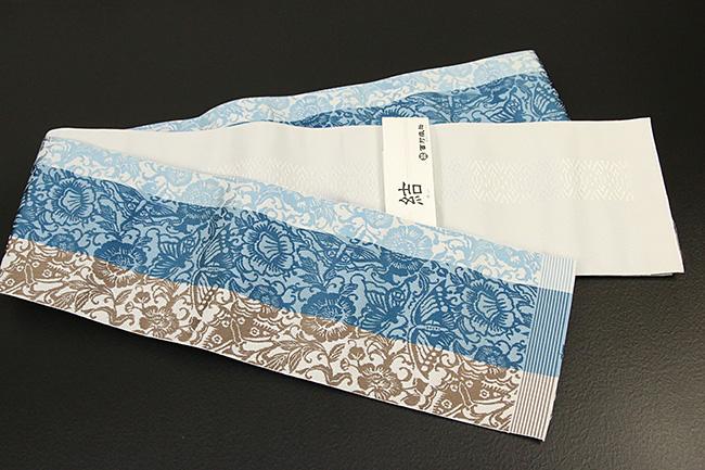 西村織物 結 博多織 正絹半幅帯 かがり仕立付 蝶牡丹 絹100% 青