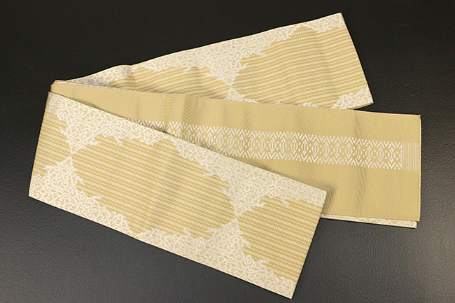 西村織物 結 博多織 正絹半幅帯 かがり仕立付 珠玉文 絹100% 黄