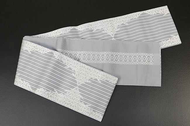 西村織物 結 博多織 正絹半幅帯 かがり仕立付 珠玉文 絹100% 灰