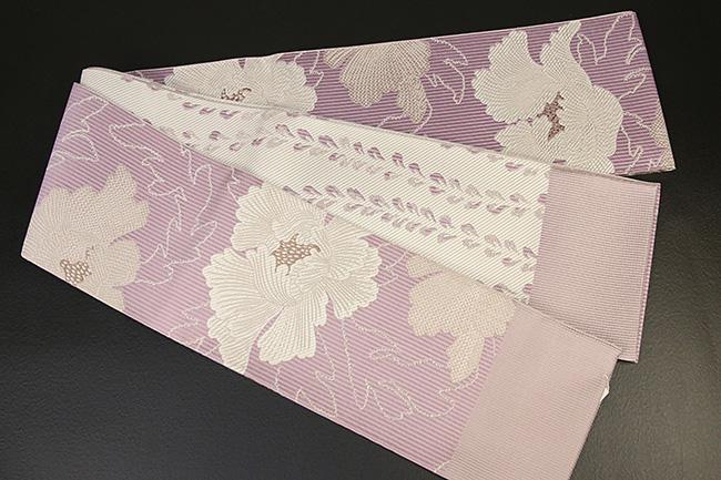 紋小巾袋帯 博多織 正絹半幅帯 かがり仕立付 紫×白 牡丹