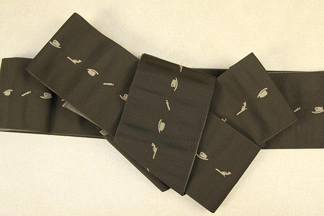 博多織 西村織物 角帯 正絹 片風通 ウエスタン カーキ
