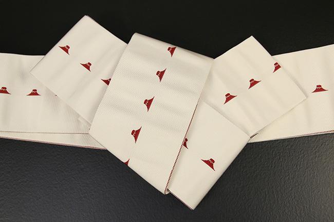 博多織 西村織物 角帯 正絹 片風通 富士山 白×赤