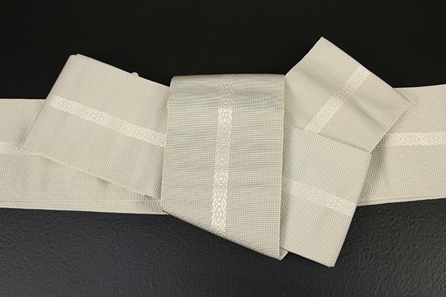 博多織 西村織物 角帯 正絹 悦 灰×ベージュ