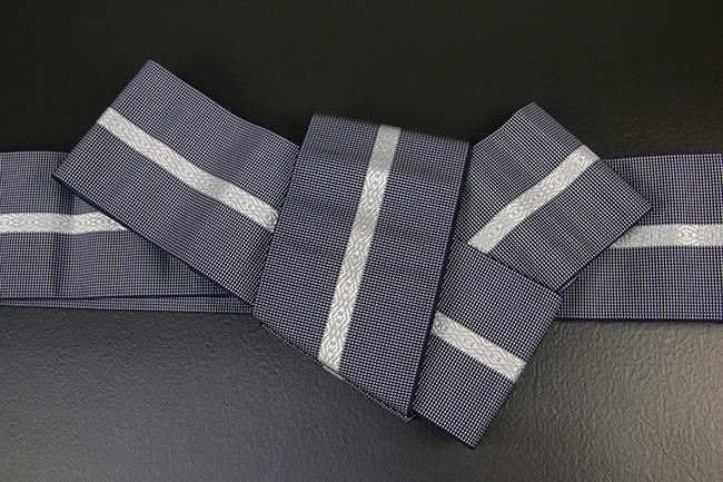 博多織 西村織物 角帯 正絹 悦 紺×灰