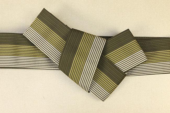 西村織物 麻絹 博多織 角帯 かがり仕立付 帯 カーキ×黄 リバーシブル