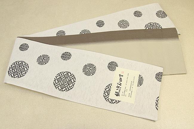 米沢織 近賢織物 半幅帯 紙こぎん四寸 水玉 リバーシブル 白×黒 2色ぼかし