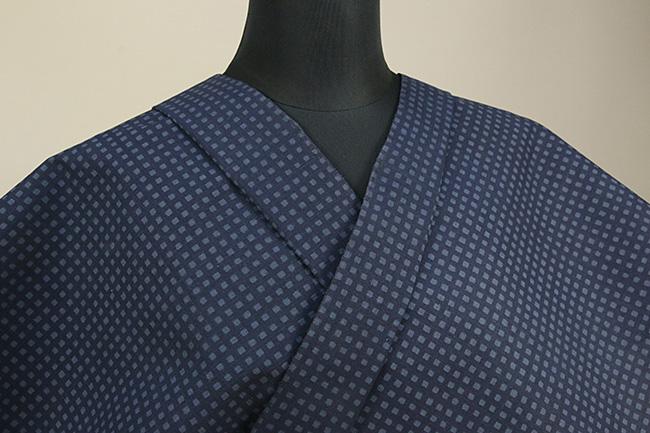 極細手紡ぎ木綿 一分角通型長板染め オーダーお仕立て付き 紺 ◆男女兼用◆