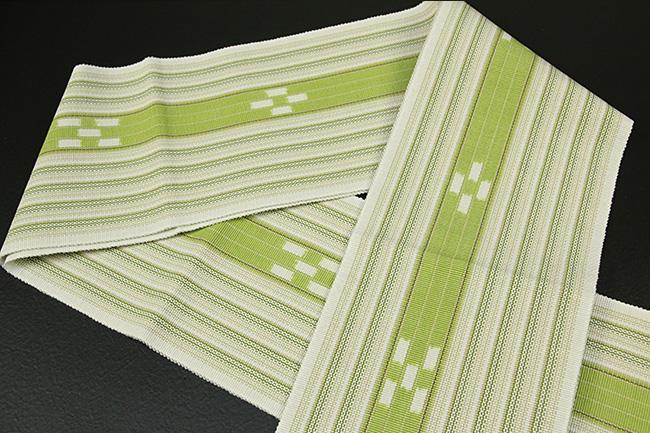 ミンサー 木綿 半幅帯 八重山 沖縄 黄緑
