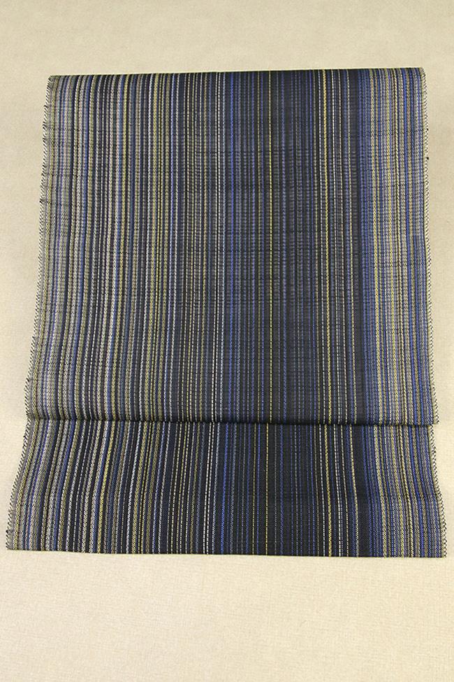小千谷本麻帯布 吉新織物 夏物 本麻 八寸名古屋帯 ストライプ 紺×黄色 仕立付き
