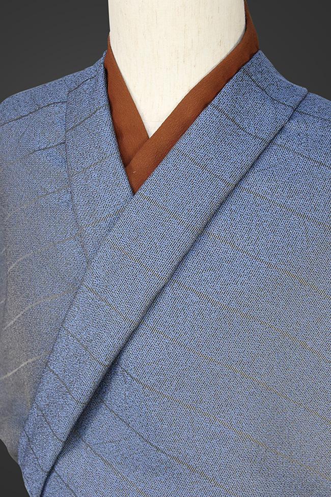 柴田織物 正絹お召し着尺 オーダー仕立て付 LandScape リーフ ブルーグリーン