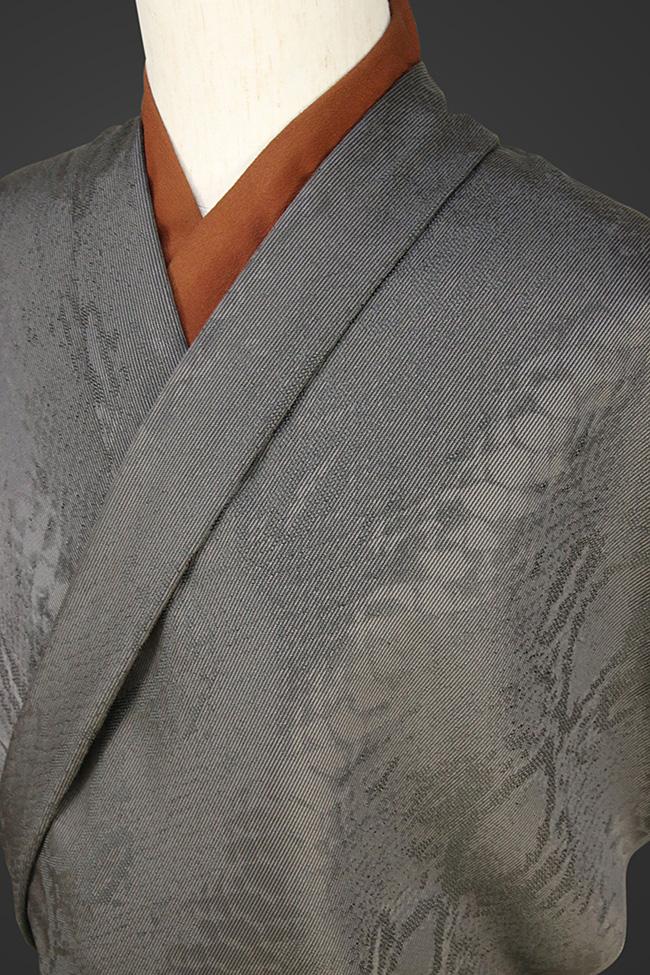 柴田織物 正絹お召し着尺 オーダー仕立て付 NatureArt ダイヤモンドパイソン 黒