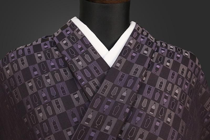 【ワケあり】ワタマサ 洗える正絹お召し着尺 ワイン 紫