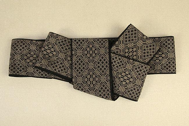 近賢織物 角帯 こぎん柄 ジャガード織 ひし形 リバーシブル 黒×茶