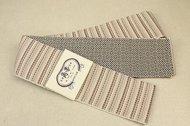 米沢織 近賢織物 角帯 モザイク小紋 ベージュ