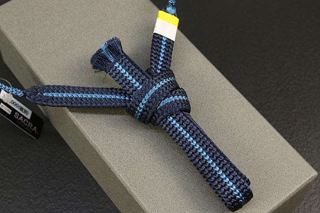和小物さくら 男性用羽織紐 平組 正絹 直付けタイプ 組紐 紺×水色