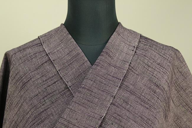久留米絣 木綿着物 オーダーお仕立て付き 普段着きもの たて絣 こげ茶 ◆男性にオススメ◆