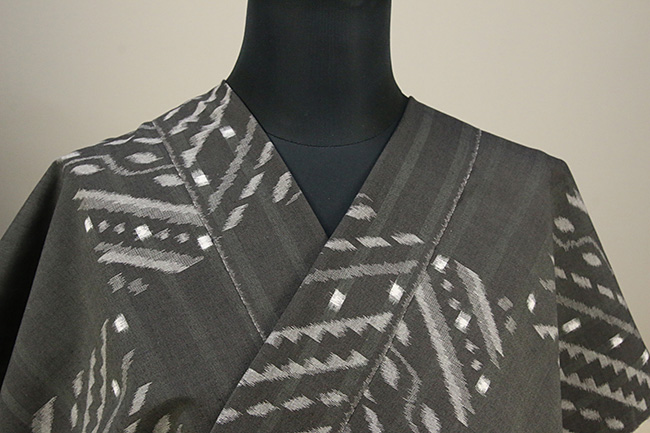 久留米絣 木綿着物 オーダーお仕立て付き 普段着きもの ストライプ 灰 ◆女性にオススメ◆