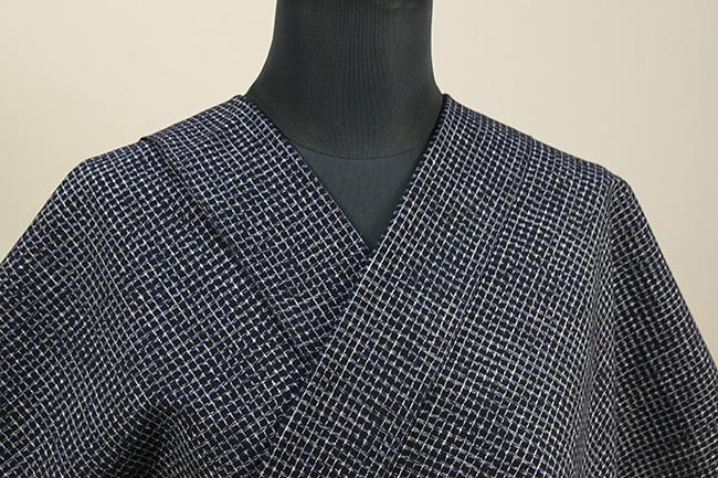 久留米絣 木綿着物 オーダーお仕立て付き 普段着きもの 格子 藍 ◆男女兼用◆