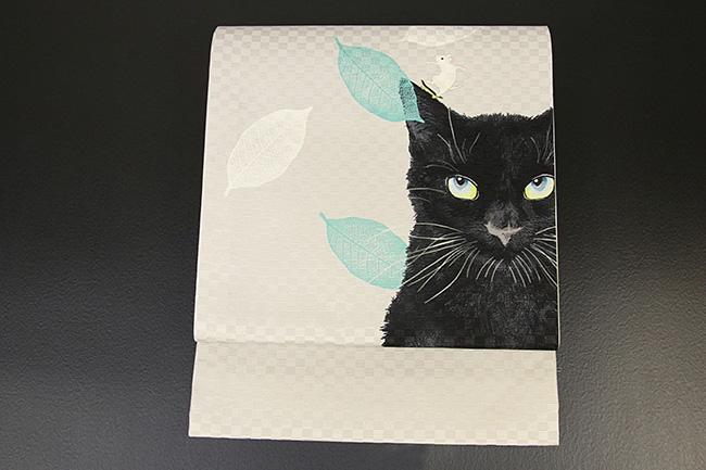 京都小泉 召しませ花 名古屋帯 猫 絹 白