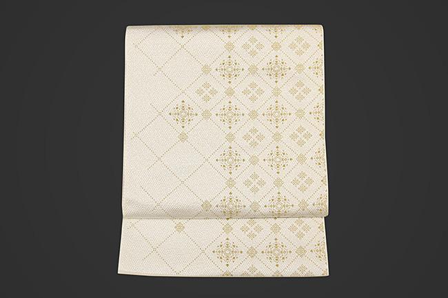 博多織 召しませ花 紋八寸名古屋帯 ダイヤ 白