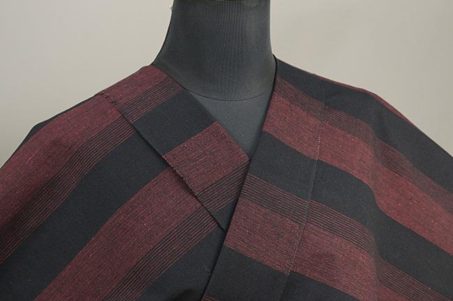 三河木綿 オーダーお仕立付き 洗える普段着着物 階~きざはし~ 赤x黒 48-39-1 ◆男女兼用◆
