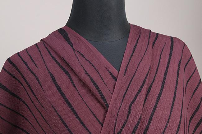 三河木綿 オーダーお仕立付き 洗える普段着着物 竜巻絞り えんじ ◆男女兼用◆