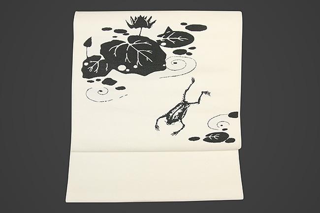 【受注生産品】西陣織 りんどう屋 九寸名古屋帯 玄圃瑤華 お仕立て付き 蓮 カエル 白
