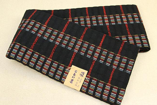 米沢織 紬さがの 半幅帯 綿 ボーダー 黒×赤
