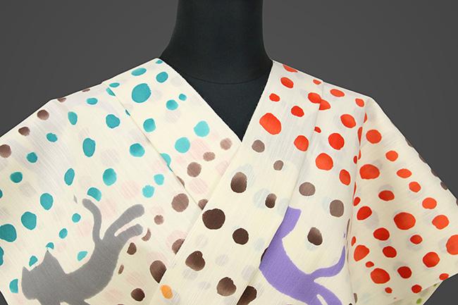 ツモリチサト浴衣(ゆかた) オーダー仕立て付き 水玉 猫 女性にオススメ