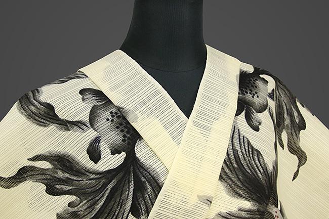 岡重 浴衣(ゆかた) オーダー仕立て付き 綿 絽 金魚 生成色 女性にオススメ