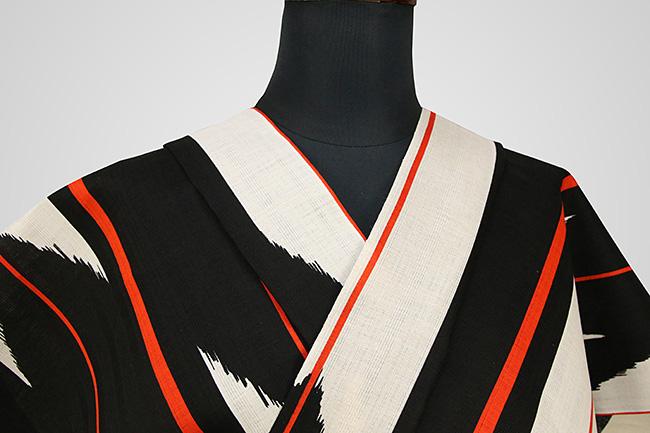 JUNKO KOSHINO浴衣(ゆかた) 綿麻 オーダー仕立て付き 矢羽 白黒 粋144 ◆女性にオススメ◆